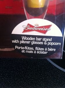 Budweiser bar stand with 2 glasses in each set $10 for all 3 Peterborough Peterborough Area image 1