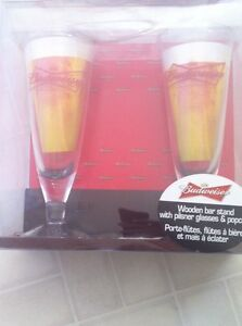 Budweiser bar stand with 2 glasses in each set $10 for all 3 Peterborough Peterborough Area image 6