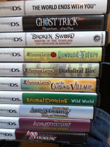 Various DS games Layton, Ace Attorney, World Ends With You etc