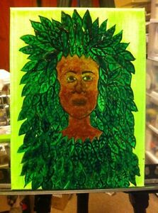 Small green oil paintings