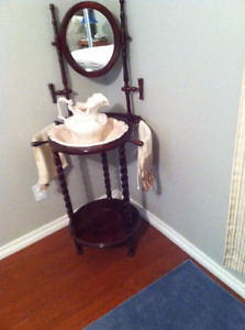 Vintage Wash stand with pitcher and bowl with  fancy hand towels