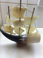 Vintage Model Ship Made From Horn