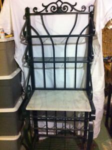Hunter Green Baker's Rack with marble shelf
