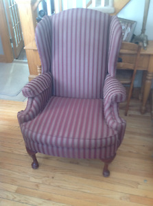 Burgundy wingback chair in excellent condition.