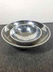 2 metal decorative bowls with shell inlay