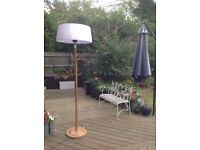 2.1kw lampshade patio heater with wood effect stand and base