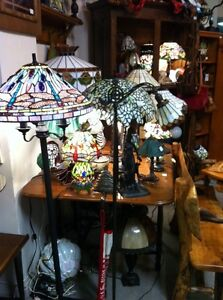 Stained Glass Lamps and Live Edge