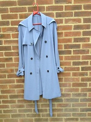Vintage 90's Cerulean Blue Trench Coat Mac Crepe Fabric On Trend Colour Size L