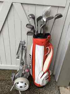 Ladies golf clubs and cart - great starter set