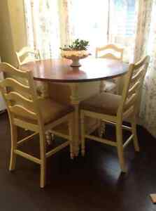 Bar Height Round Table with 4 Chairs