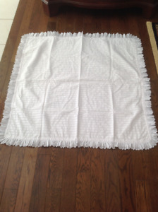 Beautiful Baby blanket white with eyelet trim 41``X 41``