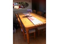 Pine Extendable Table - Seats 6 to 10 people - With 6 Matching Chairs