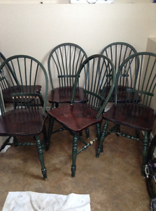 set of 5 solid wood dining chairs delivery included