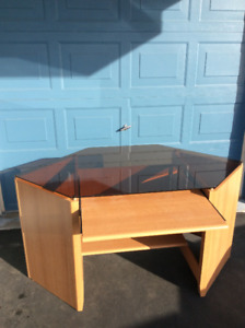 Glass topped computer desk