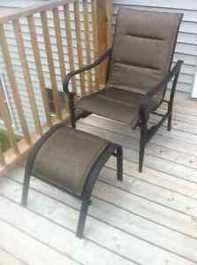 SoldPendingPickUp 2 Patio chairs, 2 foot stools, and side table