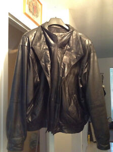 Custom made men's black leather jacket