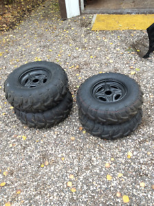 NEW ATV TAKE OFF TIRES AND RIMS 14 IN.
