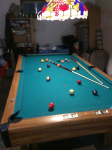 3 piece slate pool table with air hockey and table tennis insert