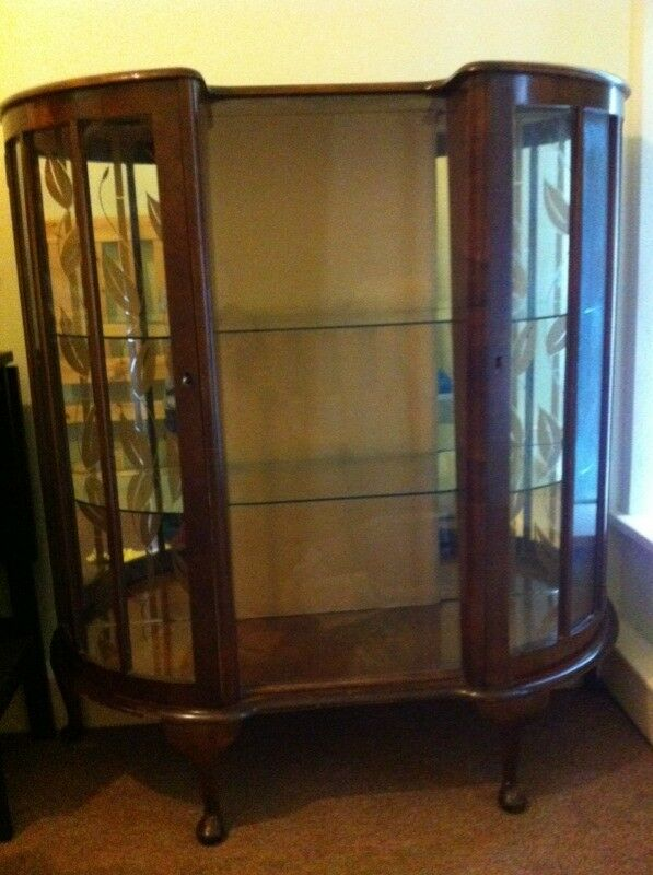 SALE! 1920's curved glass cabinet