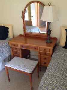 Antique Dressing Table with Mirror and bench