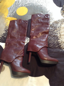 Nine West Cognac Leather Boots (Size 9)