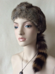 Genuine Rabbit Fur and Raccoon tail Davy Crockett Hat Lined New