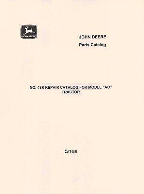 John Deere Model Ao Ar Streamlined Tractor Parts Manual Catalog Jd Cat-48