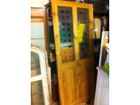 Pine frosted glass door