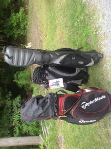 3 golf bags, one with some clubs