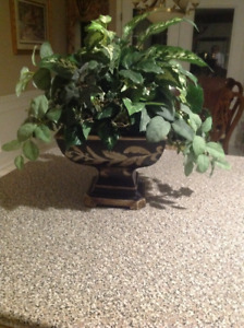Gorgeous silk plant with beautiful planter very full