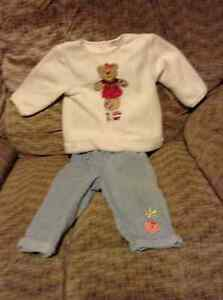 SIZE 18 MONTHS - Ivory top and faded look jeans