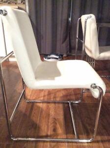 Chaises salle à manger - cuir blanc