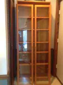 Bookcase with  Glass Doors and adjustable Shelves