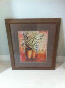 Potted Palms in Dimpled, Gold/Brass Frames (x2)