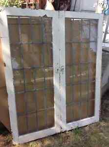 "ANTIQUE- HIGH QUALITY - 2 LEADED GLASS WINDOWS-EACH 50""H x 21""W"