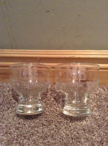"Two small glass drinking glasses with ""you"" and ""me"" on them"