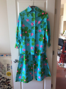 VINTAGE: 60's 'FLOWER POWER' PALAZZO PANTS + SUIT | Handmade