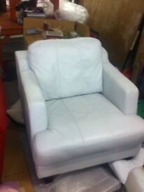 Beautiful White Leather Armchair + matching items