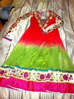 Salwar kameez churidar green and red