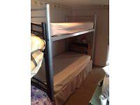 Metal bunk beds and mattress