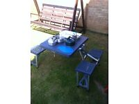Camping folding table and chairs/bench