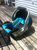 Blue infant car seat with base