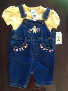 Winnie the Pooh 2-Piece Jean Overalls - 24M - NEW