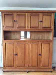 Pantry/shelving unit  on wheels. Solid Mexican pine, custom made