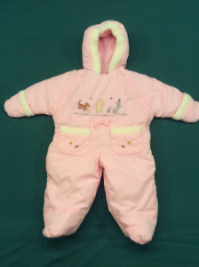 Baby Girl Pink Winnie the Pooh snow suite, size 6-9 months