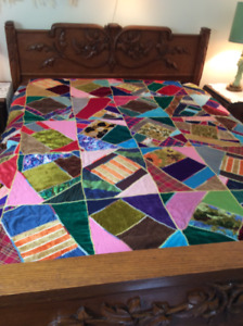 STUNNING Home Made CRAZYWORK QUILT- cozy and BRAND NEW-Grt Deal!