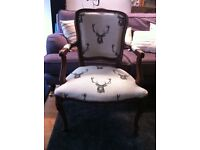 Vintage stag bedroom chair armchair throne carver