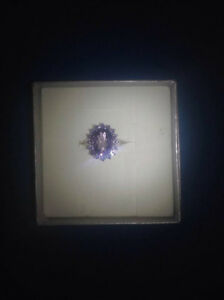 Sterling Silver Ametist Gemstone Ring with Cubic Zirconia