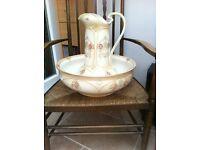 Reduced- Victorian style Tiffany design jug and wash bowl set