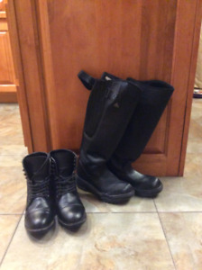 Two Pairs of Riding boots one summer size 8 winter size w5